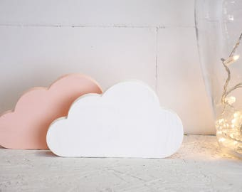 2 x wooden cloud shape, pink and white cloud baby girl bedroom nursery shelf decor set modern geometric minimalist pastel Scandinavian style