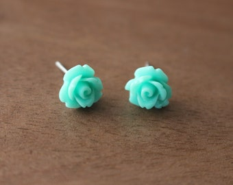 Floral Stud Earrings Mint Stainless Steel Posts Hypoallergenic