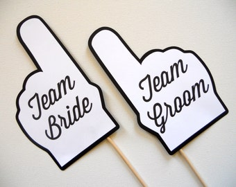 Team Bride and Team Groom Finger Photo Booth Props . Wedding Photo Booth Props . Team Bride and Team Groom . Black and White . Set of 2