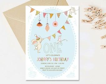 Bunny Invitation, Rabbit Invitation, Animals Birthday Party Invitation, First Birthday Party Invite, Milestone 1st 2nd 3rd 4th 5th 6th 7th
