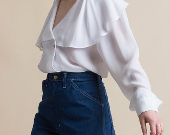 Vintage 90s White Ruffled Collar Blouse