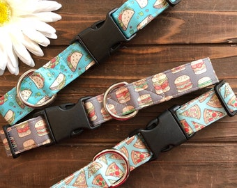 Dog collar, Food dog collar, Pizza dog collar, Picnic dog collar, Burger dog collar, Taco dog collar, Cinco de mayo dog collar, match my dog