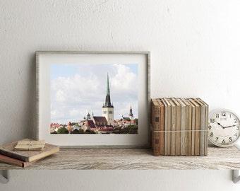 Estonia Photography - Tallinn Photograph - Rooftop Print - Old Town Photo - Rustic European Decor - Travel Photography - Churches - Skyline