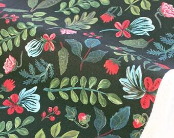 """1/2 YD-Nathalie Lete Design Fabric-cotton-""""Night forest"""" Oxford Medium Weight Cotton"""