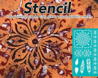 Stencil, Mandala Stencil, Painting Stencil, Craft Stencil, Wall Stencil, Pattern, Template, Temporary Tattoo, Ethnic, Tribal Mandala Feather