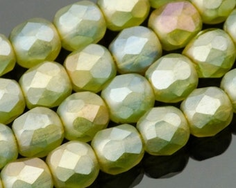 Czech Glass Round Faceted Beads - Fire Polished Beads - Sage Green Transparent Matte with Green/Gold Luster - 4mm - 50 Beads