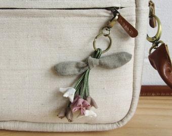 Handmade Six Little Orange Jasmines Key Chains Botanical Dyed Cotton.