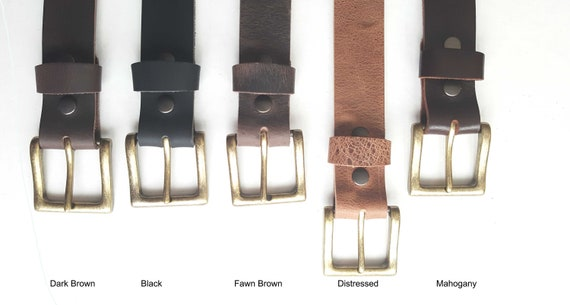 """Distressed Leather Belt & Gold Buckle ~ Custom Cut ~ Grooms and Groomsmen's Gift 1-1/2"""" Belt with snaps for Jean or 1-1/4"""" Belt for Suit"""