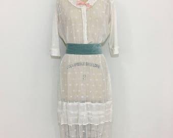 Antique Edwardian 1910s Gauzy Lawn Lingerie Dress Large