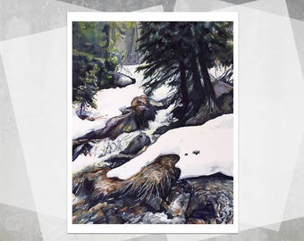 Alberta Falls Trail Giclee Print - Watercolor Painting, Rock Mountain National Park, Snow Scene, Realistic Landscape