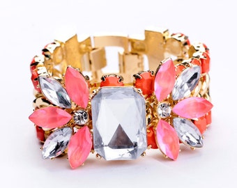 Pink and crystal statement cuff