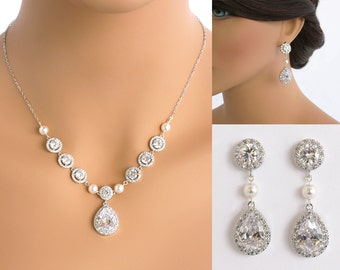 Chrissy - Bridal Jewelry SET Y Necklace + Earrings, Wedding Backdrop Necklace, Swarovski Crystal Pearl Back Drop Necklace, Teardrop Earrings
