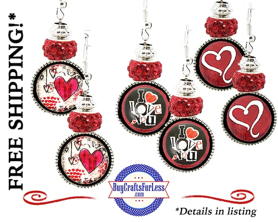 HANDMADE Heart Earrings, 3 Pretty Styles, Gift Box Avail, Best Seller +FREE SHIPPING & Discounts*