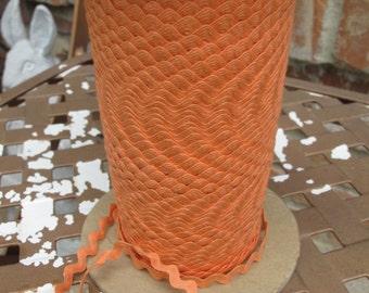 Vintage Cotton Ric Rac - Hobby Orange - 3/8 Inch - 5 Yards - 6.00 Dollars