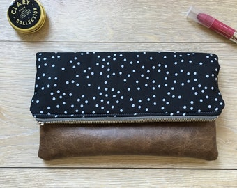 Black and gray dot fold over clutch- fold over clutch - fold over purse - polka dot purse - black and gray clutch - leather clutch