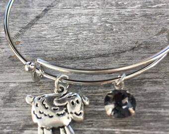 Black Sheep of the family award Farm Swarovski Crystal Expandable Bangle Bracelet