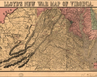 Poster, Many Sizes Available; Lloyd'S New War Map Of Virginia 1862