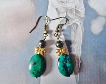 Chrysocolla earrings,Hanging earrings,Gift for Her