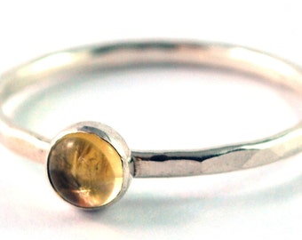 Citrine Cabochon Sterling Silver Stacking Ring