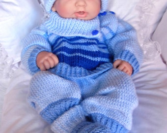 "Boy's pdf Knitting Pattern 4 Pce Set in all 3 sizes - Prem Baby 16/18"" Doll, Newborn Baby 18/20"" Doll, 0-3 Month Baby 20/22"" Doll - TOMMY"