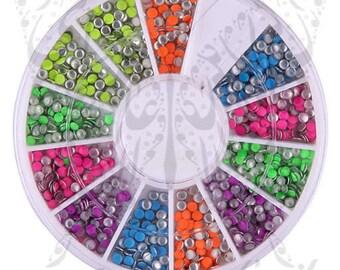 3D Neon Round Metal Nail Studs Nail Decoration Wheel -2mm