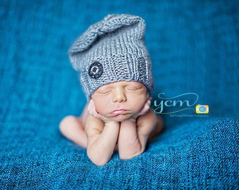 Newborn Slouchy Beanie, Newborn Hat, Newborn Knit Hat