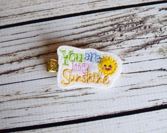 Handcrafted You are My Sunshine Feltie Clip - Baby Girl Bows - Small Hair Clip - Sun Birthday Favor - Summer Bows - Toddler Hair Accessory