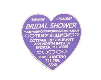 Bridal Shower Aluminum Wedding, Hearts,  Luxury, Wine Personalized Wedding, Party Engraved, Stationary, Events, Unique Keepsake, Magnet
