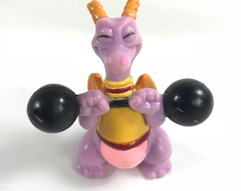 1982 Figment Weight Lifting Dragon Figure from Epcot Center at Walt Disney World in Imagination PVC Figure Purple Journey into Imagination