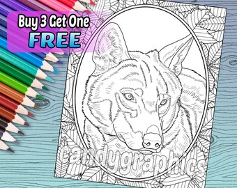 Wild Wolf - Adult Coloring Book Page - Printable Instant Download