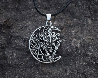 Greenman Necklace - Celtic Moon, Celtic Pendant, Woodland Creatures, Woodland Fairy, Dryad, Tree Fairy, Forest Creatures, # M-P21