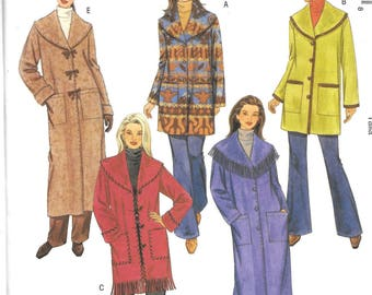 McCall's UNLINED JACKETS & COATS Pattern 4670 Misses Sizes Xsm Sm Med