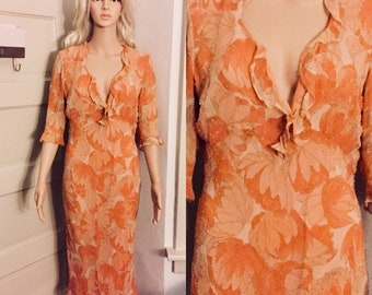 Beaded Orange Ruffle Dress | 3/4 Length Sleeve