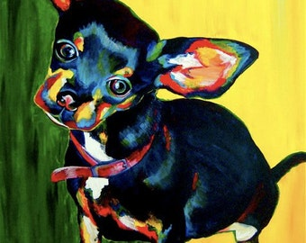 """ORIGINAL CHIHUAHUA PAINTING - """"Minnie Girl"""" - 24"""" x 30"""" - Ready To Ship- Acrylic on Canvas by Alexis Martinez Puleio"""