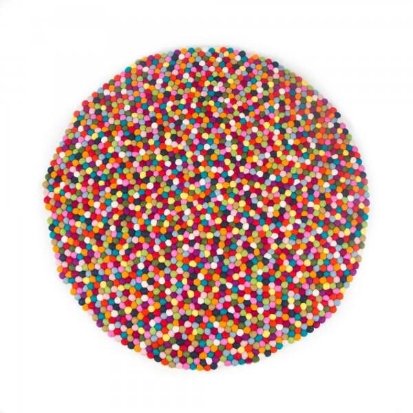 Handmade Wool Felt Ball Rug Multicolor 120cm