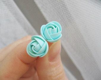 Polymer clay earrings - Mint rose flower stud earrings