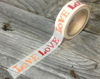"Washi Tape - 15mm - Red and Orange ""LOVE"" on White - Deco Paper Tape No. 934"