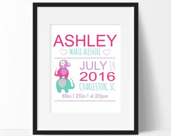Elephant Birth Announcement, Birth Stats Wall Art, Elephant Nursery Decor, New Parent Gift