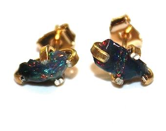 Black Opal Raw Opal Earring Raw Opal Stud Earring Rainbow Earring Tumbled Opal Jewelry Free Form Earring Raw Stone Earring Gold Opal Stud