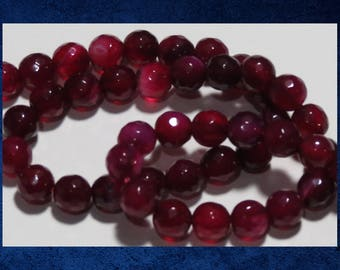 """Agate, Pink Red - 15"""" strand of 6mm faceted round ball. Approx 62 gemstone beads. #AGAT-457"""