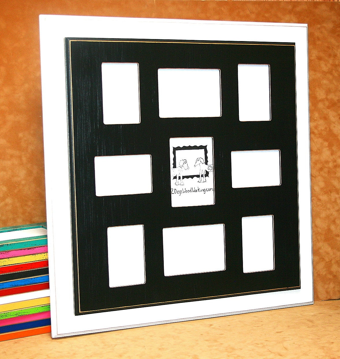 Collage picture frame 9 opening frame 6 4x6 and 3 5x7 multi sold by 2dogswoodworking jeuxipadfo Images