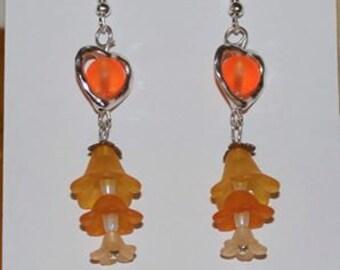 Orange Silver Flower Beaded Dangle Earrings