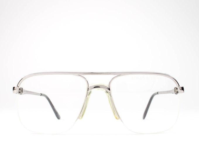80s Vintage Eyeglasses   Aviator Glasses Frames   1980s Eyeglasses   Silver Eyeglass Frame - NY Flex