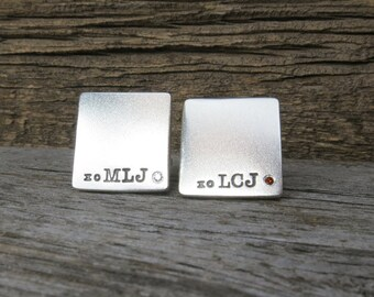 Stering Silver Diamond Cuff Links Hand Stamped Initials Names Monogram Date Custom Personalized Men's Jewelry Engraved Artisan Handmade Fine
