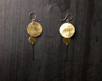 Round Brass Earrings, Calando Earrings, By Loop Jewelry, hammered brass circle earrings, sterling silver, portland jewelry, dangle