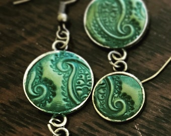 Hand Made Green Paisley in Antiqued Brass By Brooke Baker