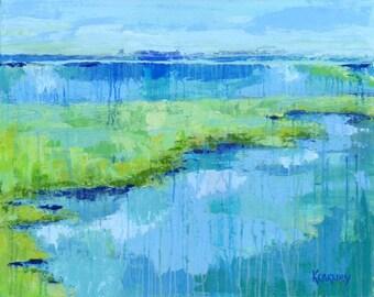 Southern Salt Marsh: fine art giclee marsh print from original acrylic marsh painting