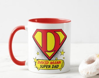 Super Dad.  Personalised Mug.  Choice of Colours.