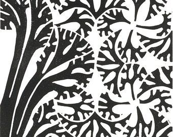 "DECO TREES LINOCUT - Black & White Tree Print - Modern Botanical Print 8""x10"" - Ready to Ship"