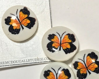 Monarch Butterfly, Lampwork Glass Paperweight Studio Button 1""